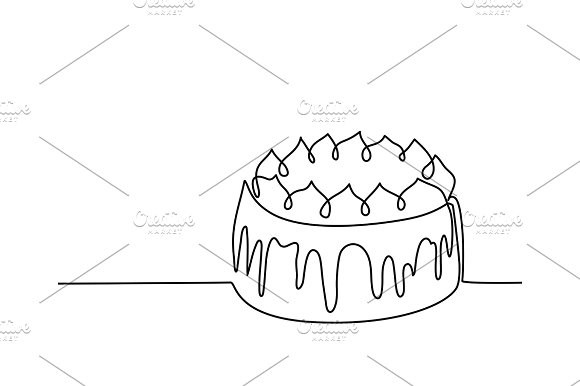 Continuous Line Drawing Of Big Cake