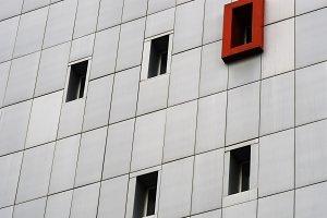 Diagonal metal panel windows architecture background