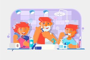 Young family. Boy brushing his teeth, Man shaving his face, Little girl combing her hair in the bathroom. Vector illustration