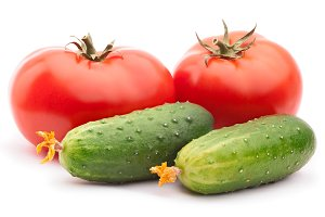 Tomatoes and cucumbers isolated