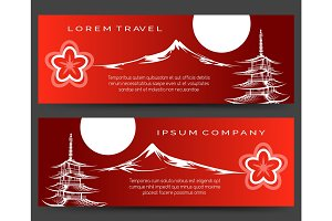 Japan pagoda and fuji mount banners