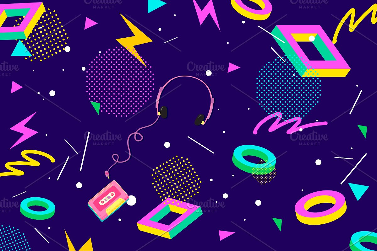 Colourful Eighties Vector Background