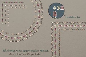 Boho border vector pattern brushes