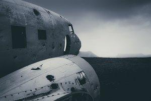 Abandoned Plane Wreck in Landscape