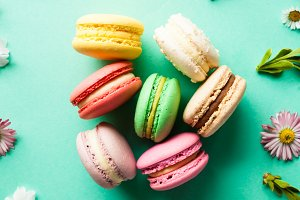 Colorful macaroons and flowers