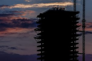 Building construction silhouette