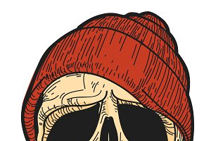 Hand Drawn skull with red hat