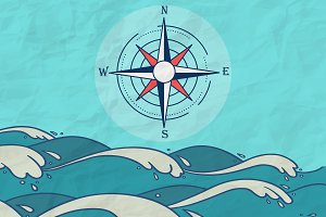 Hand Drawn Sea compass background