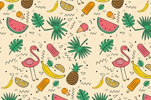 Yummy Tropical Fruits Pattern Vector