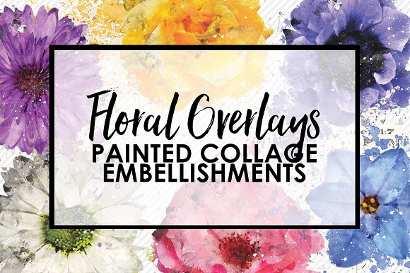 Floral Painted Collage Overlays
