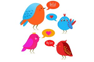 Funny cute birds. Vector icons