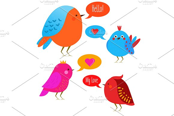 Funny Cute Birds Vector Icons