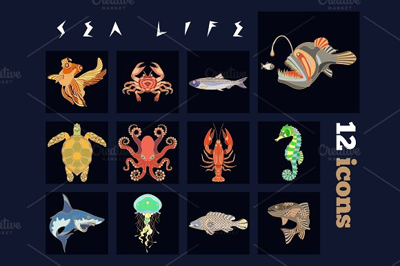 12 Fish And Sea Life Icons