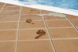 Footprints of bare feet