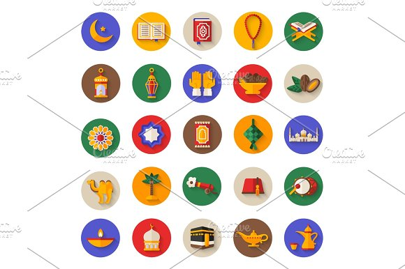 Set Of Ramadan Kareem Icons On Circles