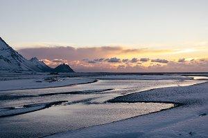 Winter Sunrise in Iceland over River
