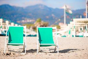 Deckchairs on european beach in Italy in Fotre dei Marmi