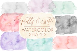 New!! Soft Watercolor Shapes Forms