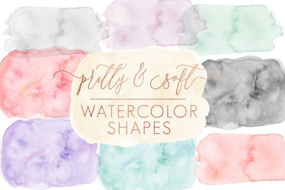 SALE Soft Watercolor Shapes Forms