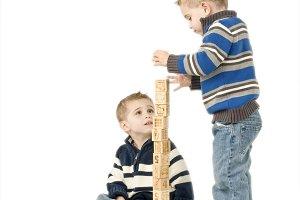 Twin boys playing