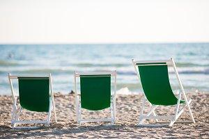 Deckchairs on european beach in Forte dei Marmi, Italy