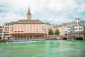 View of the historic city center of Zurich. Church and river Limmat, Switzerland