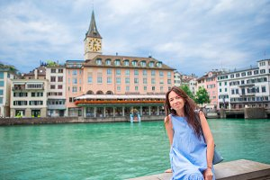 Beautiful woman enjoy vacation outdoors in Zurich, Switzerland.