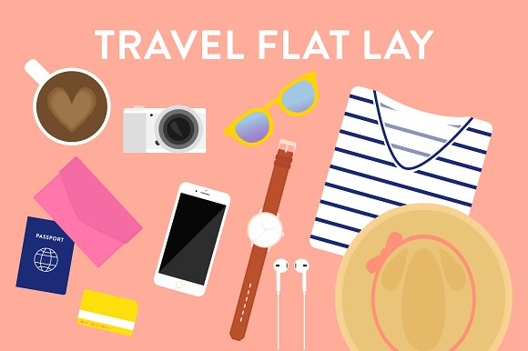 Vector Travel Flat Lay