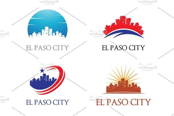 4 El Paso Logo City Skyline