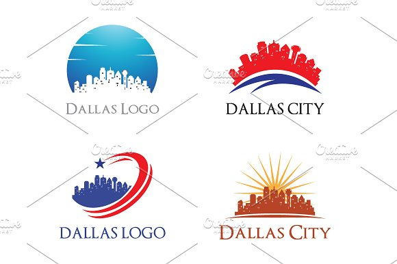 4 Dallas Logo City Skyline