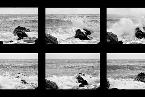 the waves hitting the rocks