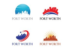 4 Fort Worth Logo - City Skyline