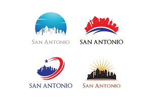 4 San Antonio Logo - City Skyline