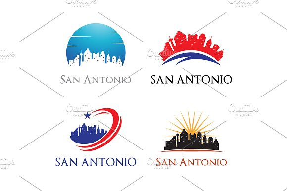 4 San Antonio Logo City Skyline