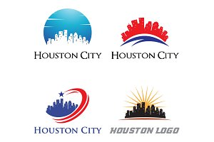 4 Houston Logo - City Skyline