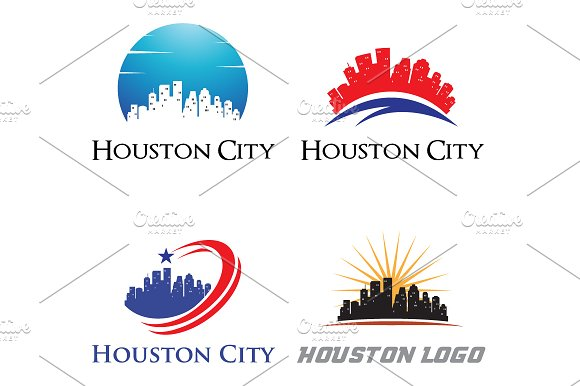 4 Houston Logo City Skyline