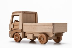 Wooden truck toy.