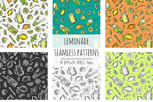 Lemonade patterns vector set