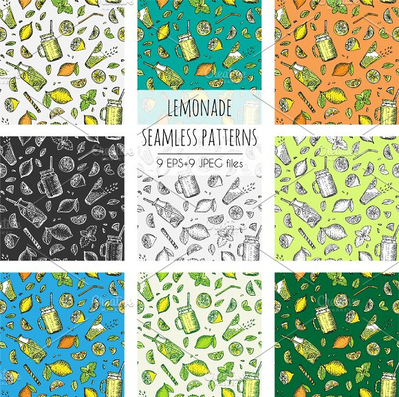 Lemonade Patterns Vector Set