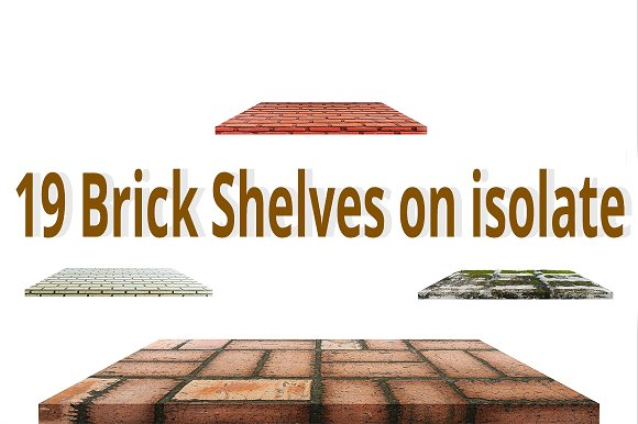 19 Brick Shelves On Isolate