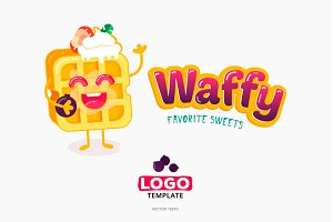 Belgian sweet wafer logo template