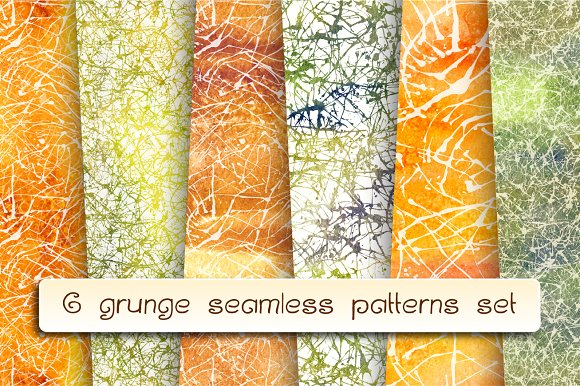 6 Grunge Seamless Patterns Set