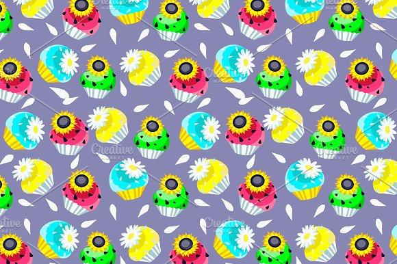 Cupcakes Dessert Pattern Clipart