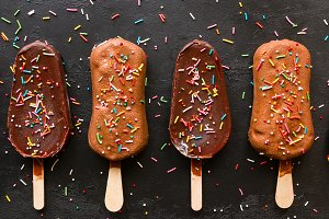 chocolate ice cream with sprinkling