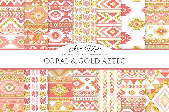 Coral Gold Boho Seamless Patterns