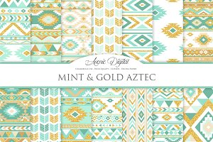 Mint & Gold Boho Seamless Patterns