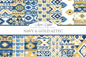 Navy & Gold Boho Seamless Patterns
