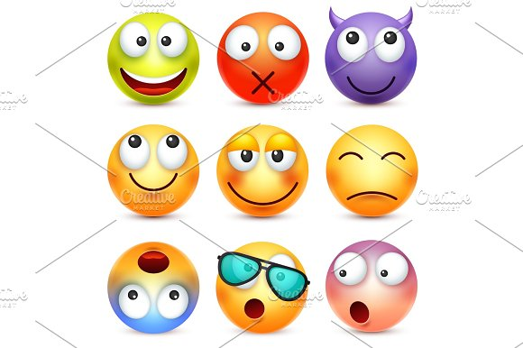 Smiley Emoticon Set Yellow Face With Emotions Facial Expression 3D Realistic Emoji Sad Happy Angry Faces.Funny Cartoon Character.Mood Web Icon Vector Illustration