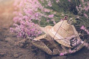 Basket with lavender bouquet