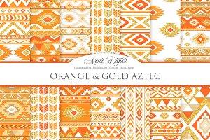 Orange & Gold Boho Seamless Patterns